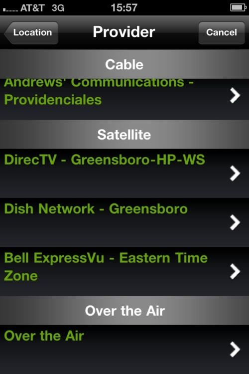 PBS iPhone application provider screen.
