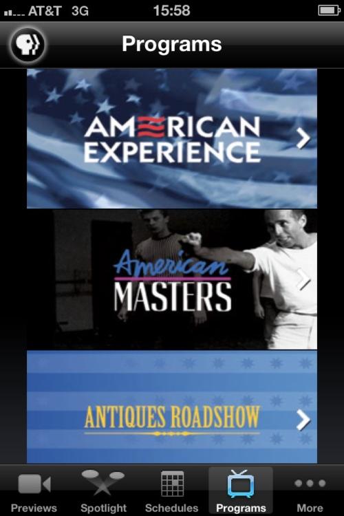 PBS iPhone application programs screen.