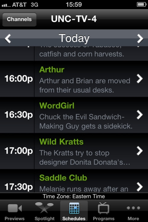 PBS iPhone application local schedule screen.