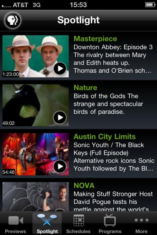 PBS iPhone application spotlight screen.