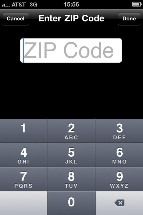 PBS iPhone application - enter ZIP code.