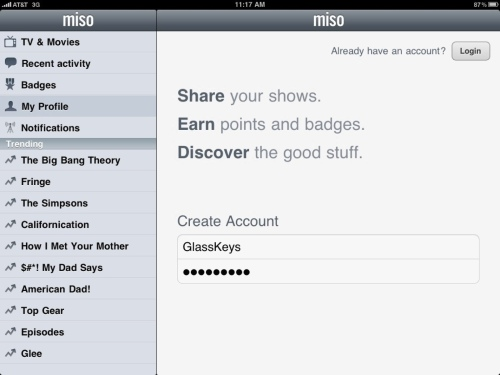 Creating a new Miso account.