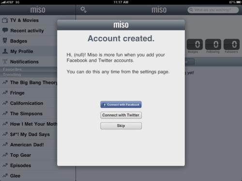 Miso iPad application--account created.