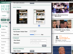 Huffington Post iPad application white theme selected.