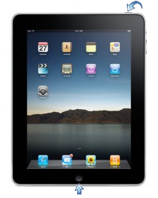 Reboot an iPad by holding down the two buttons until the white Apple logo appears.