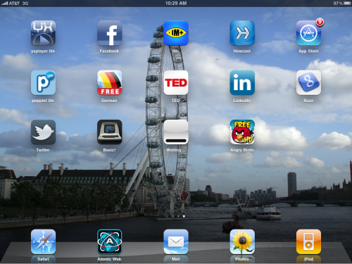 "iPad ""Waiting..."" icon at centre of screen."