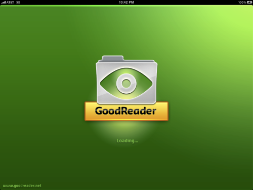 GoodReader splash screen.