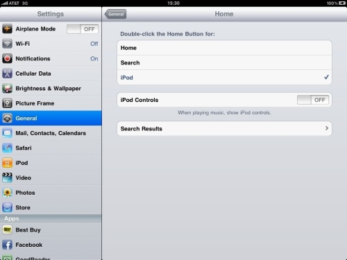 Home Button Double Click Settings.