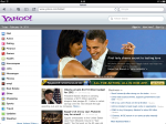 Safari on Yahoo!. Note the specialised web address ending with /tablet/.