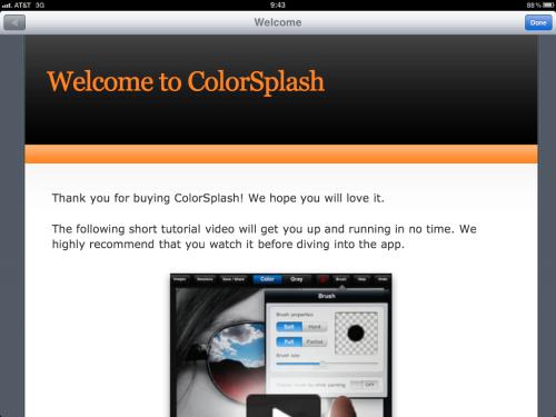 ColorSplash welcome screen.