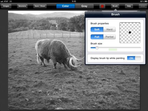 Test image loaded with brush menu displayed.