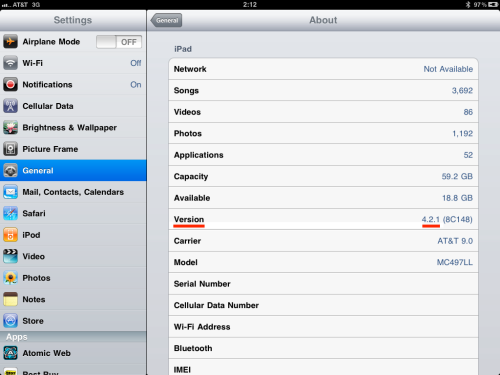 Version - 4.2.1 (iPad IOS 4.2)