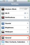 iPhone Settings, select General menu.