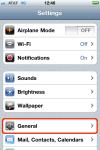 iPhone Settings, select General menu.