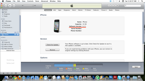 iTunes with iPhone selected, Summary tab.