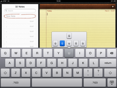 An iPad alternate key menu.