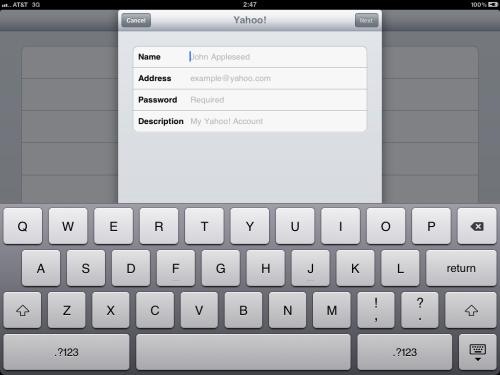 Name, address, password & description fields.