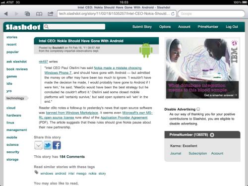 Safari on iPad - top of page.