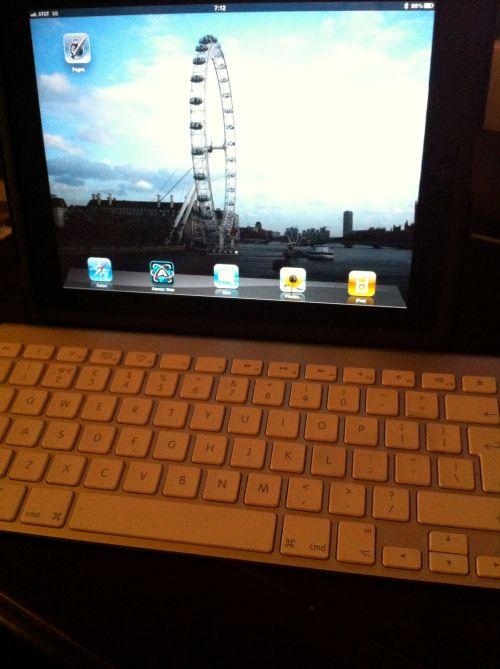 iPad and bluetooth keyboard.