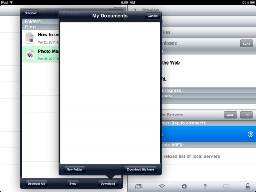 Tap Download button to save in GoodReaders 'My Documents' folder.