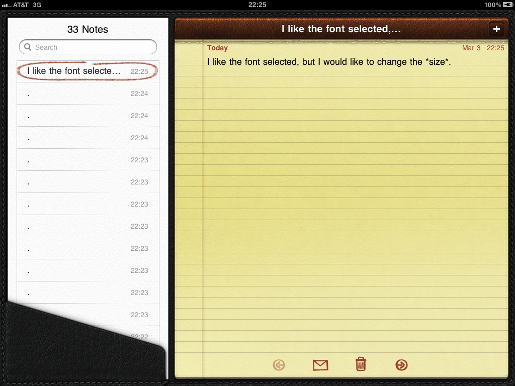 how to change font size in mail and notes on the ipad