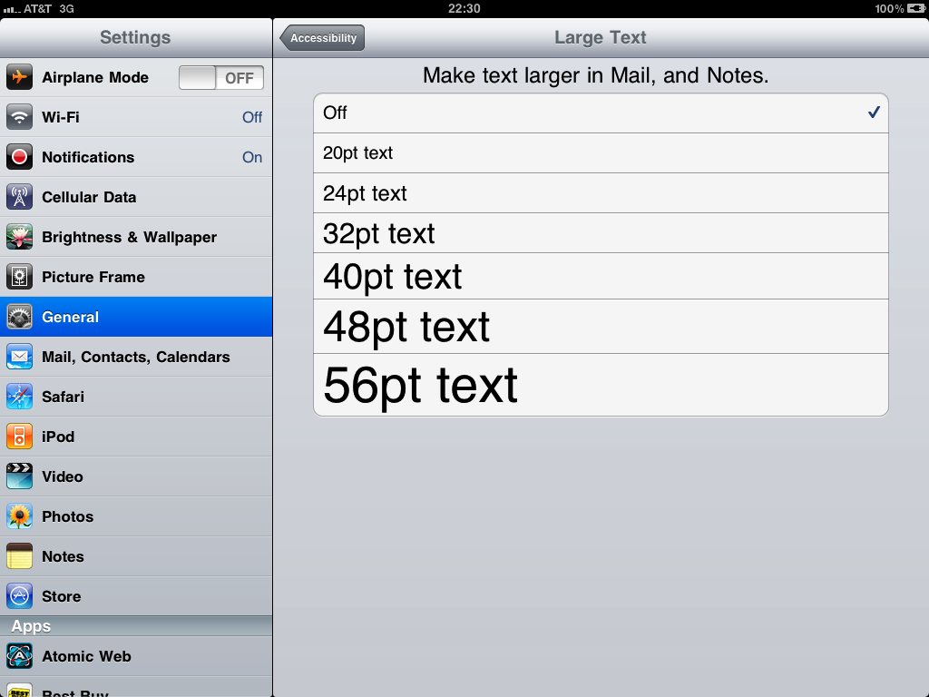 how to change font size in yahoo mail on iphone