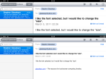 New Mail font size at top, old Mail font size at bottom.