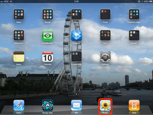 Open Photos application. Mine is located on the dock.