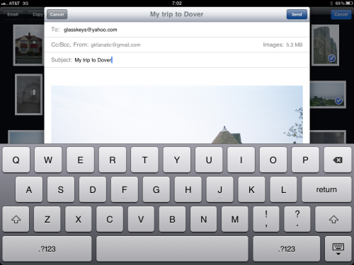 Composing email with photos attached.