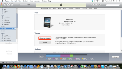 Select iPad under Devices, then click the Check for Updates button.