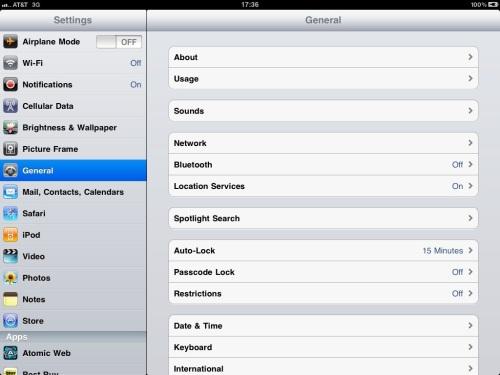 Select General settings.