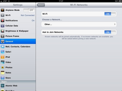 Turn Wi-Fi slider to ON position.