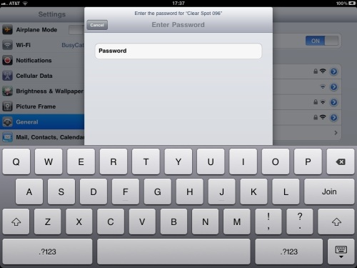 Blank password entry field.