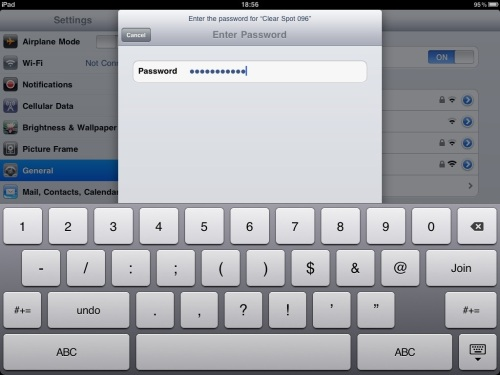 Password entry. Tap Join when done.