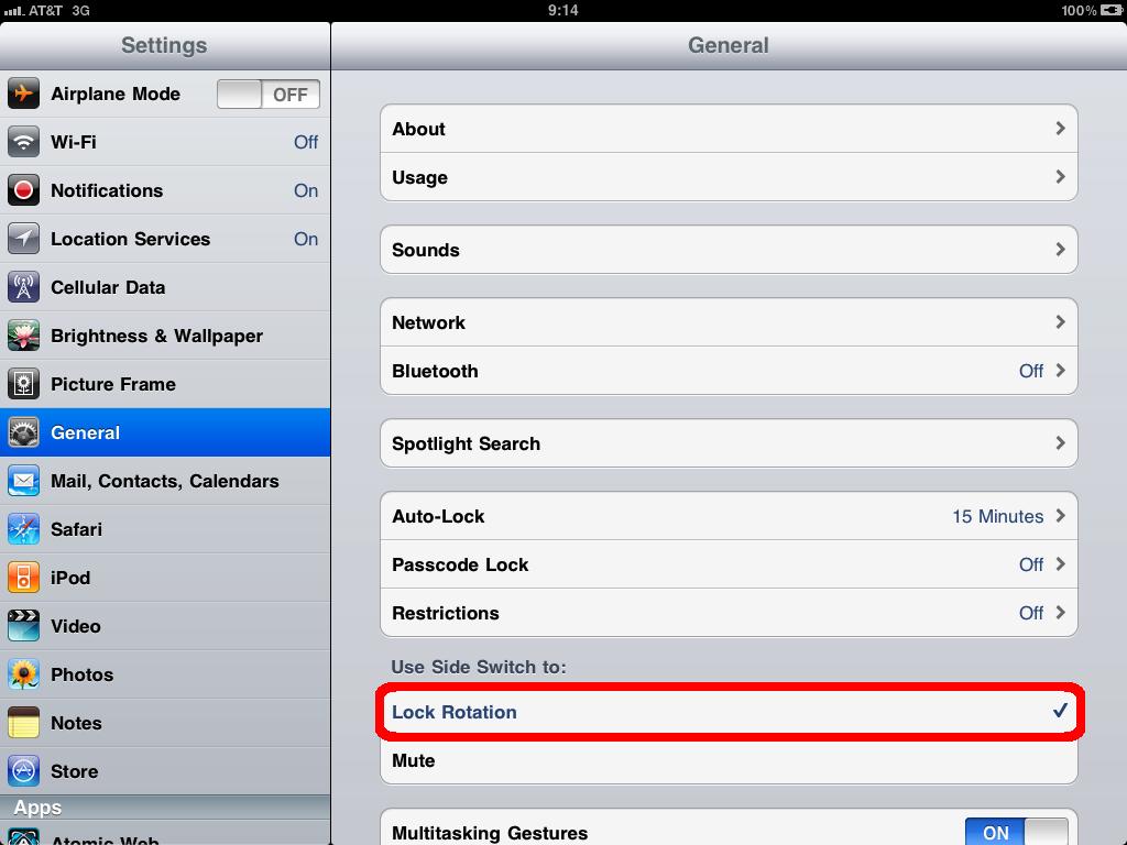 How to lock screen orientation on the iPad.   glasskeys.com