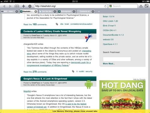 Atomic Web Browser displays a Low Memory Warning at bottom.