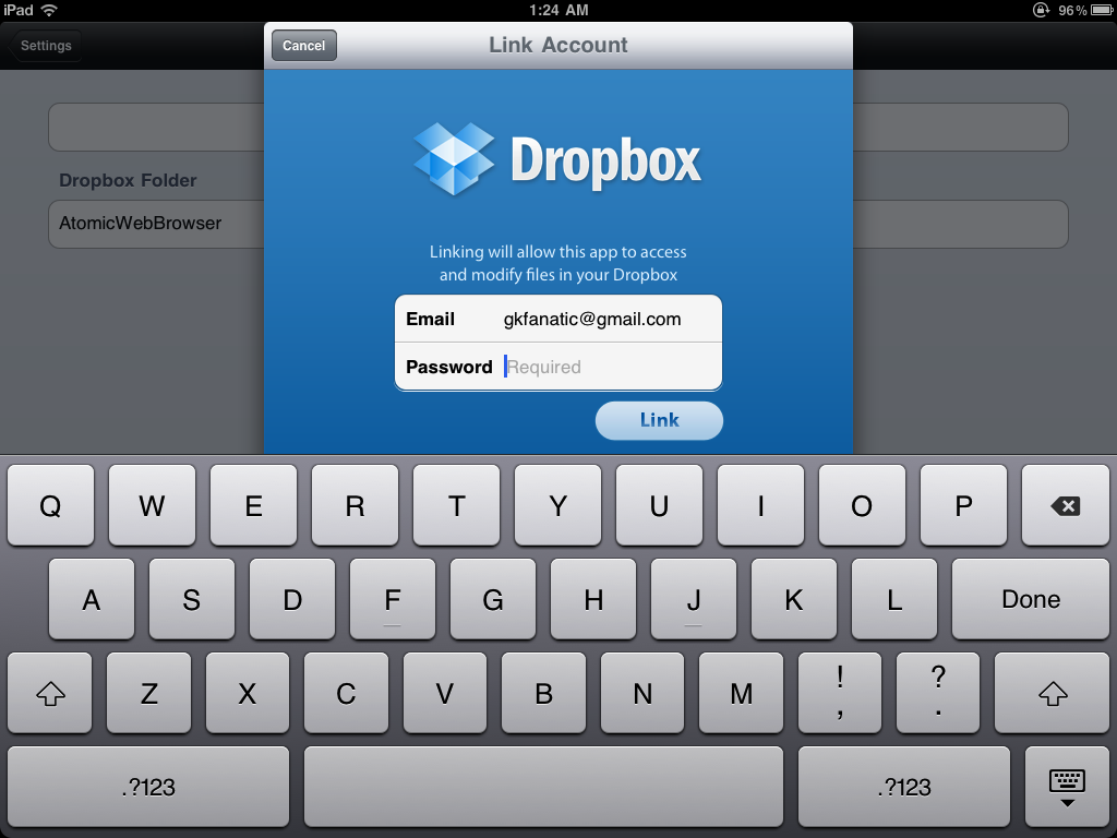 How to use Dropbox with Atomic Web Browser on the iPad
