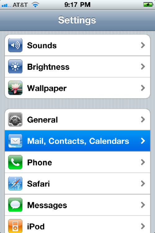 Mail, Contacts, Calendars.