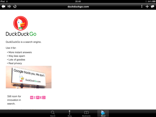 DuckDuckGo about page.