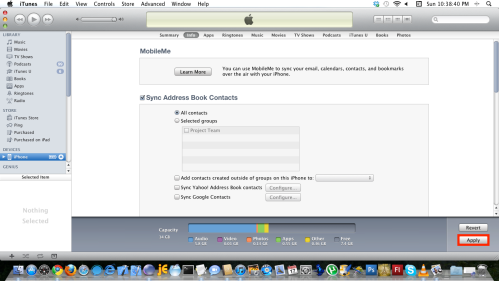 Ensure Sync Address Book Contacts is ticked, click Apply button.