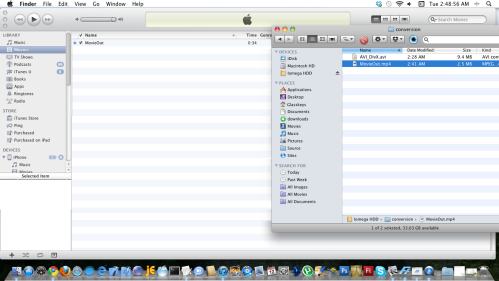 Place MP4 file in iTunes Movies folder.