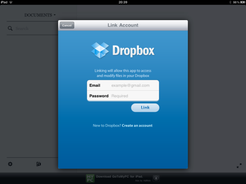 Enter DropBox credentials to link with PlainText.