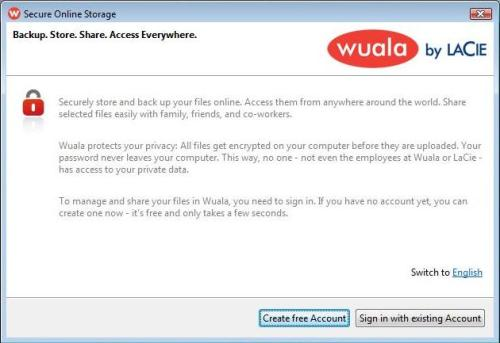 Wuala signup wizard.