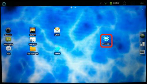 Dropbox on CM7 desktop.
