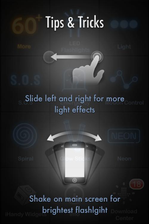 iHandy Flashlight Free tip screen.