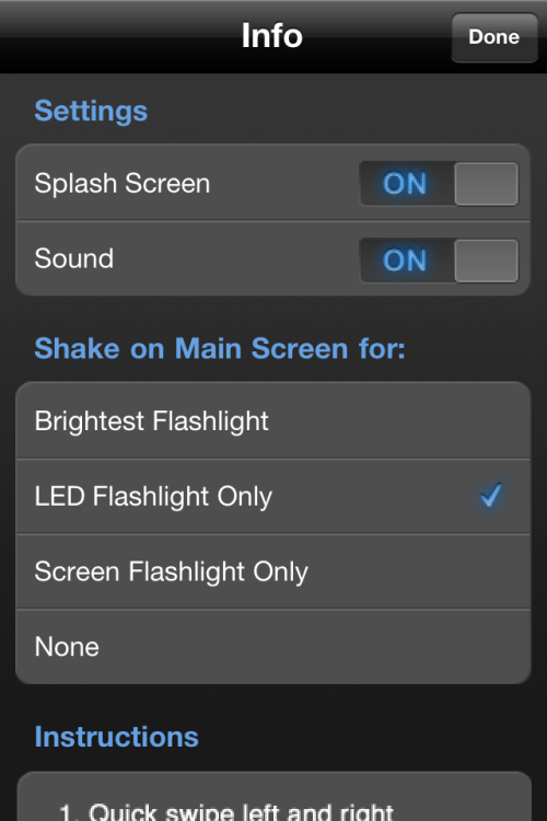 iHandy Flashlight Free settings.
