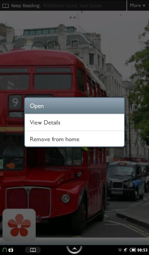 Open option will start application running.