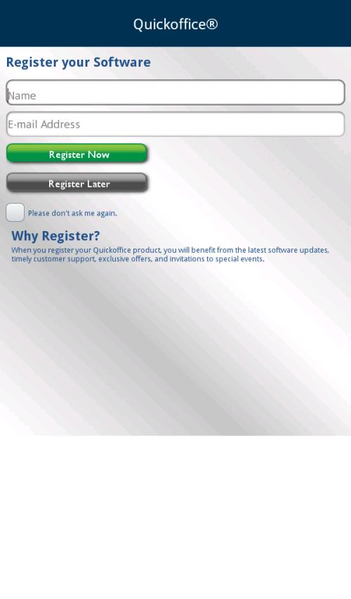 Registration screen.