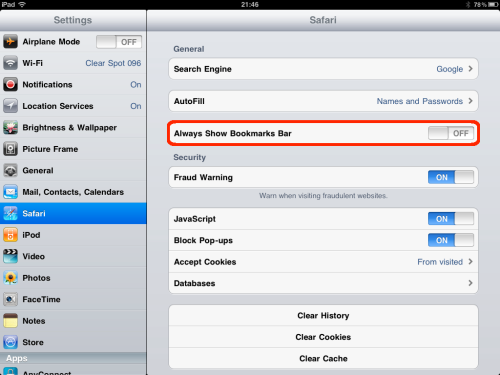 Select Safari settings category.