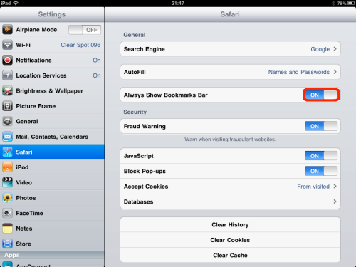 Toggle the Always Show Bookmarks Bar switch.